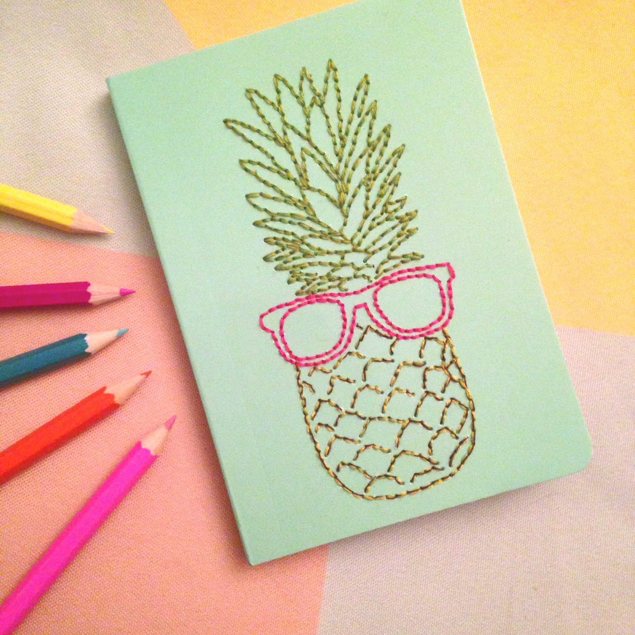 Diy embroidered notebooks knits brew
